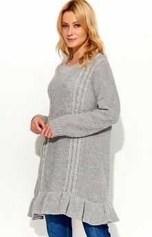 Makadamia S48 sweter szary Dziewczęcy sweter, wydłużony fason, sweter wykończony uroczą falbanką