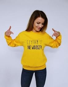 Modna bluza młodzieżowa z nadrukiem CZYTAM NIE WIDZISZ ; blogerska bluza over...