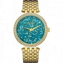 Caravelle 44L230 śliczny zegarek dla kobiet lubiących błyskotki :D W kolorze złotym mocowany na bransolecie a tarczę wypełniają niebieskie kamienie :) Więcej informacji na nasze...