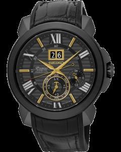 """Nowość od Seiko! męski zegarek kinetyczny Seiko Kinetic Perpetual SNP145P1 pochodzący z kolekcji Novak Djokovic. Wykonany z wysokiej jakości stali barwionej próżniowo na czarny kolor. Przymocowany do skórzanego paska podszytego gumą dla większej swobody noszenia. Dzięki unikatowej formie wykonania stanowi idealny dodatek dla każdego mężczyzny na każdą okazję.  Czasomierz wyposażono w wieczny datownik (perpetual) oraz w funkcję AUTO RELAY, która przedłuża działanie zegarka do czterech lat. Dzieje się tak, poniważ po odłożeniu zegarka przechodzi on w stan """"uśpienia"""" zaś po ponownym założeniu ustawia się sam na aktualną datę i godzinę. Dodatkowym atutem jest jedno z najbardziej wytrzymałych szkieł - szkło szafirowe odporne na uderzenia i zarysowania oraz wysoka wodoodporność 100-stu metrów przy której można swobodnie pływać z zegarkiem. Więcej na naszej stronie, aby się przenieść do sklepu kliknij w zdjęcie :)"""