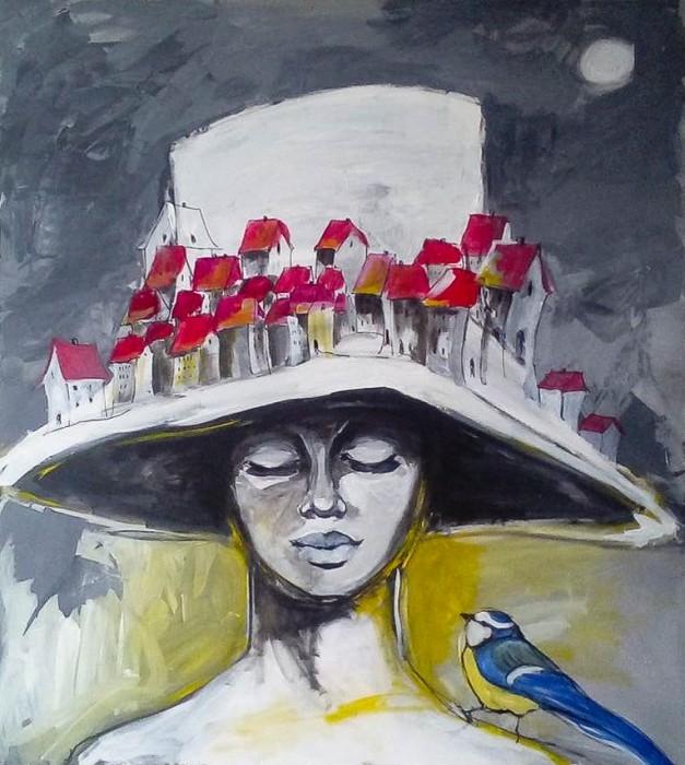 """Obraz """"Kobieta jest szyją świata"""" wykonany farbami akrylowymi przez artystkę plastyka Adrianę Laube na płótnie o wymiarach 100x90cm. Obraz naciągnięty na blejtram, ma zamalowane boki, sygnowany. Na sprzedaż."""