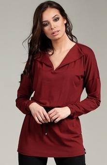 BE B025 bluzka bordowa Stylowa bluzka damska, luźniejszy fason, długie rękawy