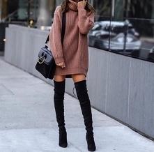 Stylizacja z długim swetrem i kozakami za kolano - LINK W KOM!