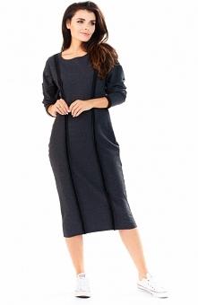 Awama A197 sukienka grafitowa Komfortowa sukienka, wykonana z miękkiej dzianiny, z przodu ozdobne przeszycia