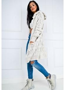Długi i ciepły sweter kardigan warkocze kaptur >> Sukienki.shop