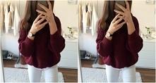 Bordowy sweter + Białe spodnie = <3