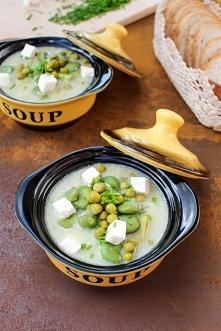 Zupa z bobem, fasolką szparagową, groszkiem i serem feta. Zupa z młodych warzyw.   Przepis po kliknieciu w zdjecie