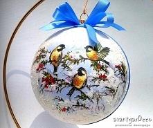 Bożonarodzeniowa bombka z ptaszkami w stylu vintage