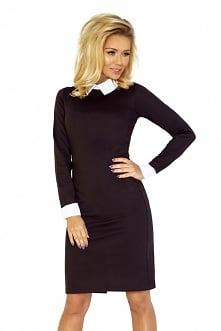 Czarna sukienka midi z kołn...