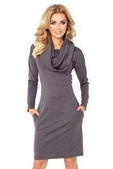 Grafitowa sukienka z kieszeniami, golfem i długim rękawkiem - ciepły materiał...