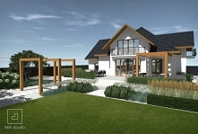 Ogród nowoczesny z pergolą