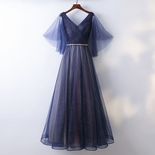 Piękne Granatowe Sukienki Wieczorowe 2017 Princessa Koronkowe Spleciona Szarfa Bez Pleców V-Szyja Długość Kostki Sukienki Wizytowe