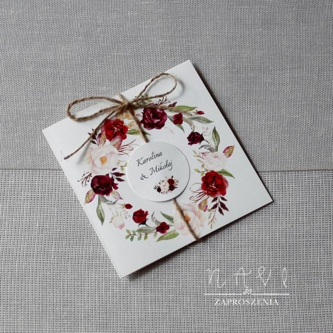 rustykalne zaproszenie ślubne ze sznurkiem