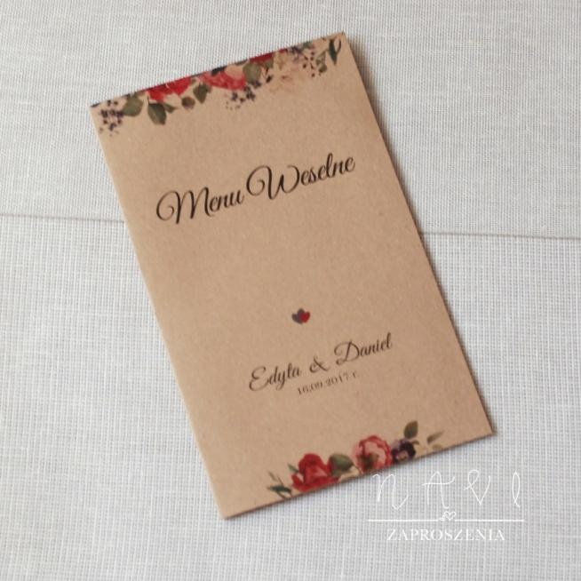 menu weselne w rustykalnym stylu