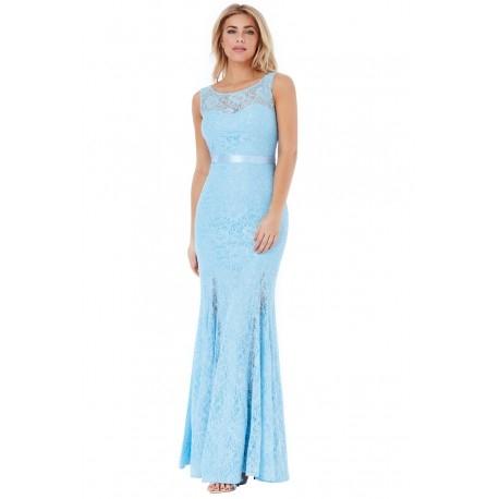 Długa błękitna koronkowa sukienka z odkrytymi plecami