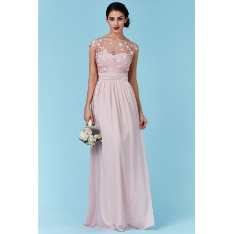 Luksusowa długa różowa sukienka szyfonowa z siateczką i ozdobami 3D