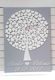 Drzewko księga gości weselnych - drzewko szczęścia, drzewko wykonane ze sklej...