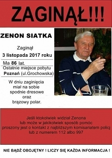 Moi kochani zaginął dziadek Agnieszki i Kristiana ! Link do jej facebooka znajdziecie w komentarzu ...
