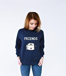 Bluza przyjaźni z nadrukiem FRIENDS FOREVER - bluza dla przyjaciela i bluza dla przyjaciółki ze śmiesznym nadrukiem papier i poop. Fajny pomysł na prezent dla przyjaciółki i dla...