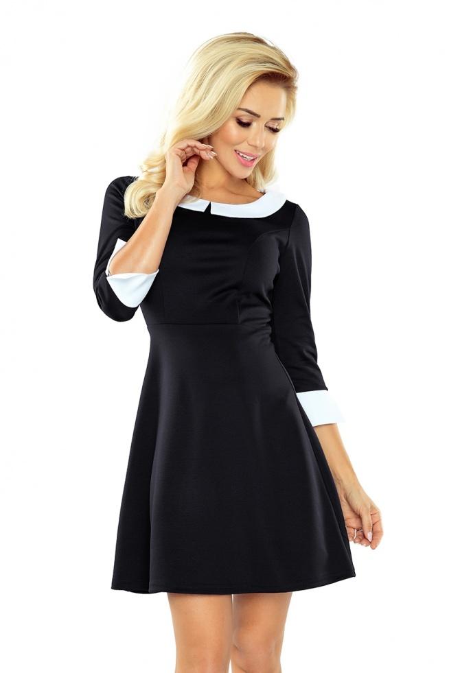 d75e8aba2d Czarna sukienka z kołnierzykiem. Sukienka na egzamin