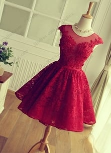 Item: PD16026 Red keyhole back short lace prom party gown