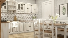 bielona kuchnia w rustykaln...