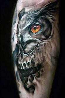 incredible owl tattoo 3d