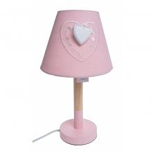 Lampa różowa nocna z serduszkiem dla dziewczynki