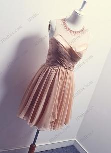 rumieniec krótka suknia wieczorowa PD16028 Sexy blush color sheer back short wedding party dress