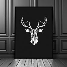 Plakat geometryczną głową jelenia.