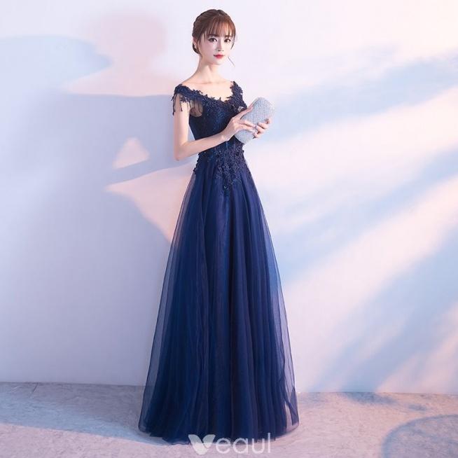36dad315 Stylowe / Modne Granatowe Sukienki Wieczorowe 2017 Princessa V-.. na ...