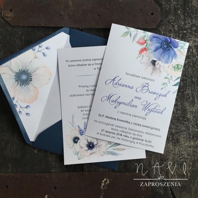 Zaproszenia ślubne Biała Eustoma Z Delikatnym Połączeniem Na Wedding