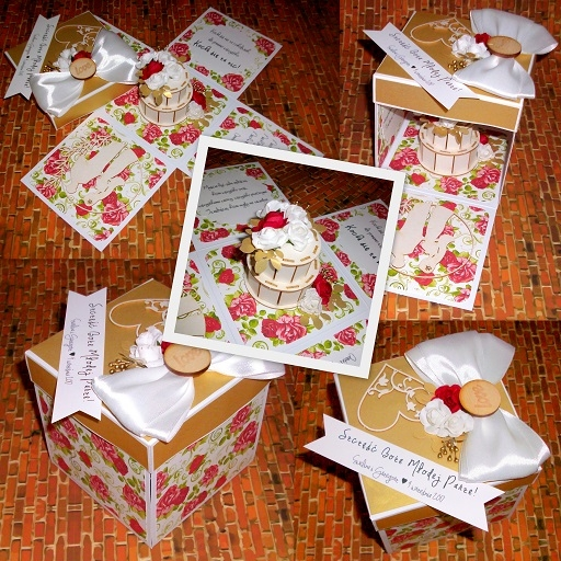 Exploding Box na ślub :) biel-złoto, dodatek motywu kwiatowego  Masz pytania? Chcesz złożyć zamówienie? Pisz! kraina_czarow@interia.pl