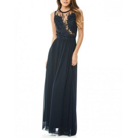 Granatowa długa szyfonowa sukienka dla świadkowej z koronkową górą