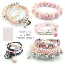 biżuteria pantone almost mauve- bransoletki pudrowe, bransoletki różowe, bransoletki pudrowy róż, bransoletki pastelowe, bransoletki kryształy