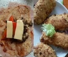 Roladki z piersi kurczaka z pieczarkami papryka i ser