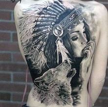 indian woman and wolf tattoo