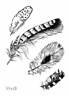 Inktober Day 23 - Feathers