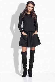L169 Elegancka rozkloszowana sukienka z kieszeniami czarny