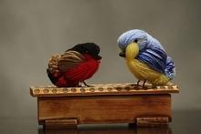Ptaszki wykonane z włóczki,Bożena Oboza, Inka-art.pl