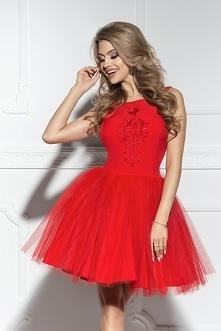 SHERRI - Rozkloszowana tiulowa sukienka z haftem czerwona Kliknij w zdjęcie b...