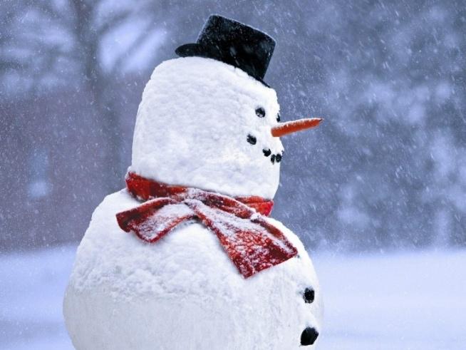 Lepienie bałwana: -kilka sprawnych rąk -dużo uśmiechu -jeszcze więcej chęci -trochę mokrego śniegu -1 marchew, 2 kamyki i rózga Bałwan jak malowany.