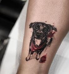 tatuaż psa na ręce