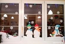 Zimowa dekoracja okienna w przedszkolu
