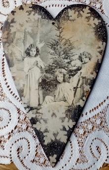 Serce z aniołkami vintage