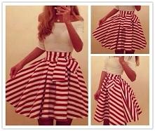 dziewczyny orientujecie się, gdzie znajdę spódnicę w takie czerwono-białe paski :) ?