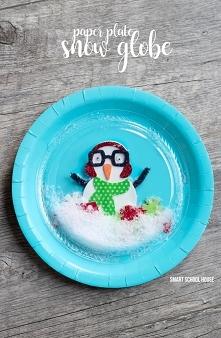 """""""kula"""" z bałwankiem 2 talerzyki: kolorowy i mniejszy, przezroczysty sztuczny śnieg bałwanek /renifer, mikołaj, zdjęcie .../ Do środka włożyć bałwanka wyciętego np. z p..."""