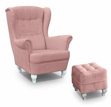 SOFART.PL różowy fotel uszak z podnóżkiem