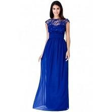 Luksusowa długa kobaltowa sukienka szyfonowa z siateczką i ozdobami 3D