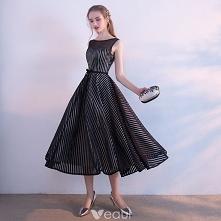 Proste / Simple Czarne Białe W paski Homecoming Sukienki Na Studniówke 2017 P...